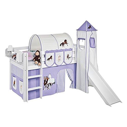 Lilokids Spielbett JELLE Pferde Lila Beige - Hochbett weiß - mit Turm, Rutsche und Vorhang