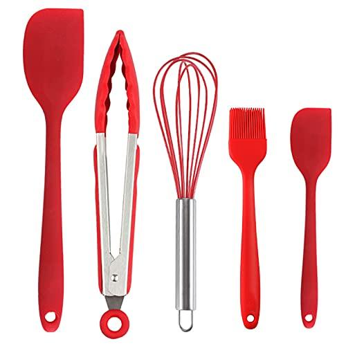 Zeaye Rojo de 5 piezas Set espátula de silicona para cocinar antiadherente para hornear, set de cocina de silicona espátula resistente al calor, sistema de espátula de silicona