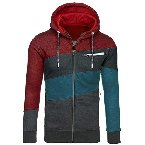 Lowest Prices! FengGa Men Winter Simple Splice Cap with Zip Sweater Tops Blouse Lightweight Slim Fit...