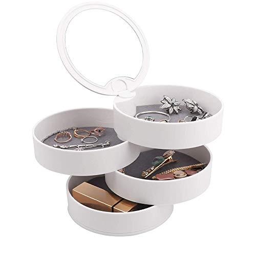 Caja Joyero, Caja de Almacenamiento de Joyas, Joyeros Redondos, Organizador de Joyas de 4 Capas, Blanco 4 Capas 360 Grados Organizador de Joyas con Espejo Para Collar, Pulsera, Anillo, Pendiente