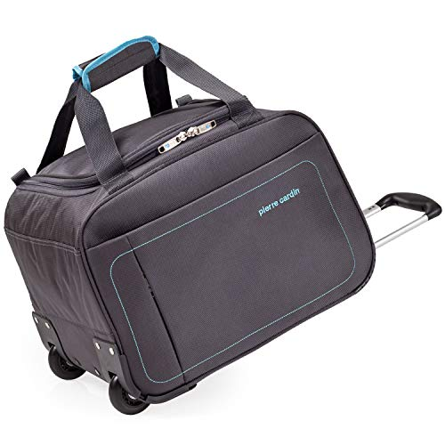 Charcoal 16' Inch Holdall with Wheels - Duffle Wheeled Roller Bag by Pierre Cardin | Lightweight 1.5kg Capacity 36 litres (Charcoal & Blue, Holdall)