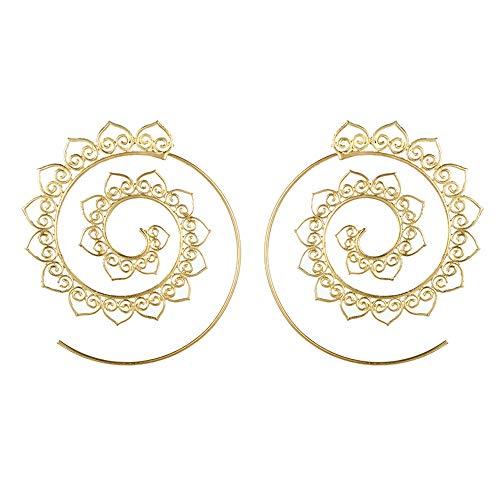 JJXDP Ohrringe Spiral Creolen Für Frauen Gold Silber Farbe Runde Herz Getriebe Baumeln Ohrstecker