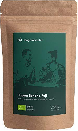 teegeschwister® | BIO Grüner Tee Japan Sencha Fuji | loser premium Grüntee aus den Gärten am Fuße des berühmten Fuji Vulkans| handgerollter Blatttee | ohne zugesetzte Aromen