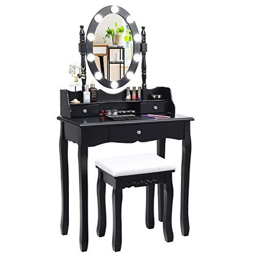 COSTWAY Schminktisch mit Hocker, 360° drehbarem Spiegel und verstellbare LED Beleuchtung, Frisiertisch aus Tisch und Abnehmbarer Oberteil, Kosmetiktisch mit 3 Schubladen, 75 x 40 x 143,5 cm (Schwarz)