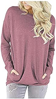 Elonglin Women's Casual Solid T-Shirt Long Sleeve Round Neck Loose Tunic Tops with Pockets