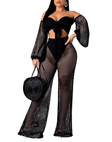 Salimdy Women's Sexy 2 Piece Mesh Swimsuit Bikini Cover Up Crop Tops and Pants Set Summer Beach Party Outfits Black XL