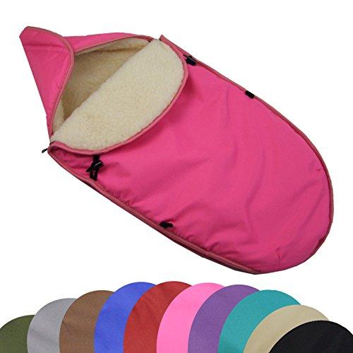 BAMBINIWELT universaler Winterfußsack für Babyschale (z.B: Maxi-Cosi) oder Kinderwagen, aus Wolle UNI (Pink)