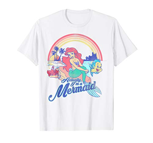 Disney Little Mermaid Pastel Rainbow Retro Graphic T-Shirt