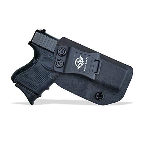 Glock 26 Holster IWB Kydex For Glock 26 / Glock 27 / Glock 33 Pistol Case - Inside Waistband Carry Concealed Holster Glock 26 / Glock 27 Holsters IWB Kydex Guns Accessories (Black, Right Hand)