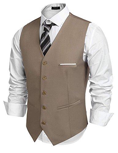 Coofandy Mens 5 Button Down Business Suit Vests Waistcoat for Suit or Tuxedo Large,Camel