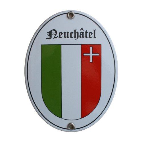 Schweiz Kanton Neuenburg Neuchâtel Nöieburg Emaille Schild 11,5 x 15 cm Emailschild Oval.