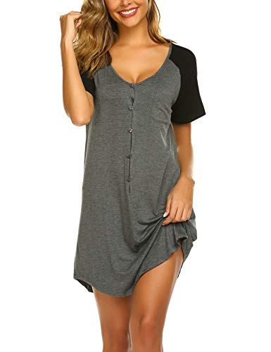 Ekouaer Womens Nightshirt V Neck Boyfriend Sleepwear Pajama Dress Loose Sleeve Button Night Grown Sleep Tee S-XXL