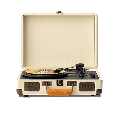 KJRJC 3-Speed Bluetooth Suitcase Turntable with Speakers, Portable Bluetooth Stereo, Built-in 2 Stereo Speakers, Retro Style Vinyl Record Player, RCA Line Output AUX Headphone Jack Recorder