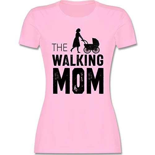 Muttertagsgeschenk - The Walking Mom - M - Rosa - Muttertag t-Shirt - L191 - Tailliertes Tshirt für Damen und Frauen T-Shirt