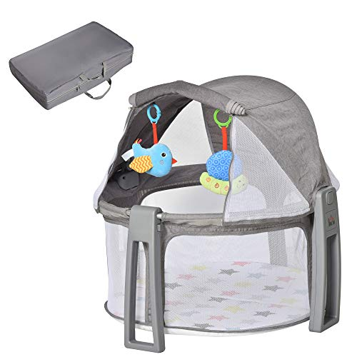 HOMCOM Cuna de Viaje Plegable y Portátil Cuna Infantil para Bebé con Bolsa de Transporte Dosel Extraíble Colchón hasta 15 kg 70x74x78 cm Gris