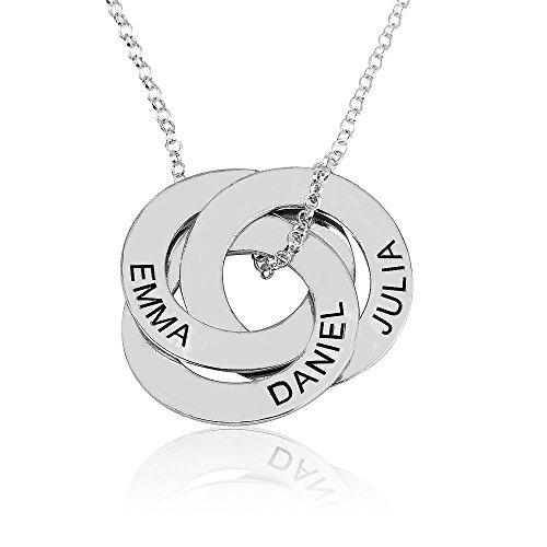 namenskette Gravierte Russische Ring Kette - personalisiertes Geschenk für sie (45, 925 Silber)