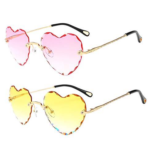 Harilla Gafas de Sol Sin Montura en Forma de Corazón Vintage de 2 Piezas Gafas de Lentes Tintadas de Fiesta Retro