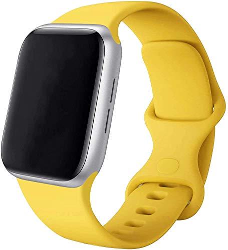 VIKATech Compatible Cinturino per Apple Watch Cinturino 44mm 42mm 40mm 38mm, Cinturino Morbido di Ricambio in Silicone per iWatch Series 6/5/4/3/2/1 (42mm/44mm S/M, Giallo)