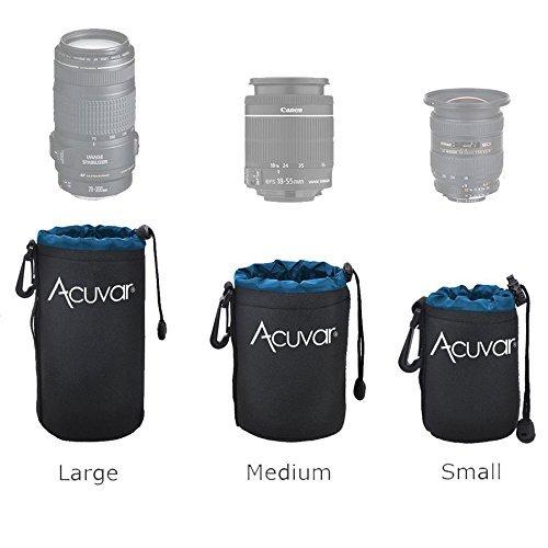 3-Pack ACUVAR Soft Neoprene Lens Pouch for DSLR Lenses (Small, Medium and Large) f/Canon, Nikon,...