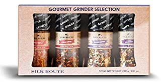 Silk Route Spice Company Spice Grinder Set x4 – x1 Himalayan Pink Salt x1 Chili..