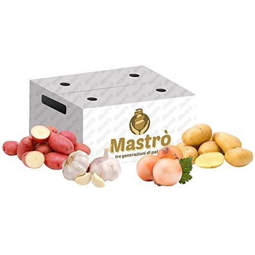 iMastrò Patate Food Box Patate Pasta Gialla Buccia Rossa Fresche Aglio Cipolle Ramate Box Da Cucinare Sacco Made In Italy Patatine Fritte Taglio Chips
