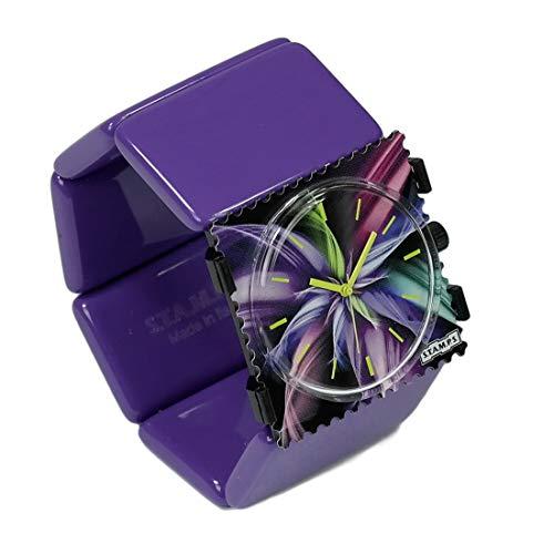 S.T.A.M.P.S. Stamps Uhr KOMPLETT - Zifferblatt Magic Blossom auf Belta violett
