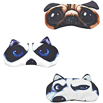Cute Sleep Eye Mask for Sleeping Funny Cat Pug Dog Cartoon Mask Soft Padded Shade Cover Rest Relax Blind for Women Men
