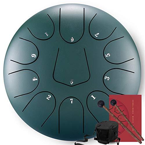 Cyg Tambores Lengua Acero, Brahma Drum Tambor Etéreo Hang Drum Instrumentos de Percusión 1 Par de Mazos + Bolsa de Tambor de Almacenamiento