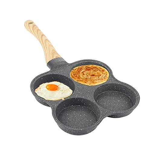 Poêle à Crêpes 4 Trous, Petite Poêle à Induction Antiadhésive pour Omelette, Moule à Crêpes avec Poignée en Bois pour un Petit-déjeuner Sain en Famille, 36.5x19.5 cm