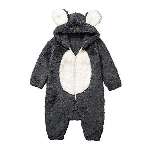 Baby Winter Warm Thicken Jumpsuit,Jchen Infant Boy Girl Cute Cartoon Ear Hooded Romper Plush Jumpsuit for 3-24 Months Gray
