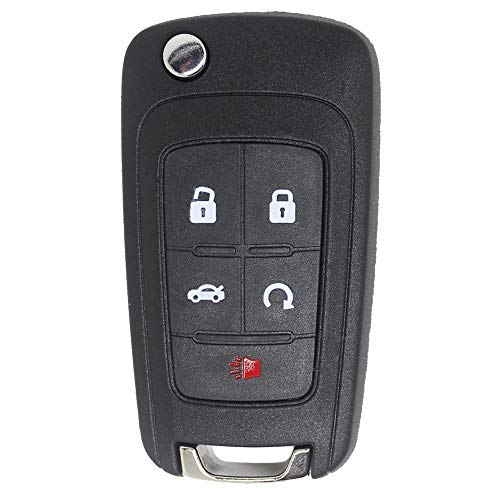Keyless2Go Replacement for New Keyless Remote 5 Button Flip Car Key Fob Select Impala Malibu Cruze Equinox and Other Vehicles That Use FCC OHT01060512