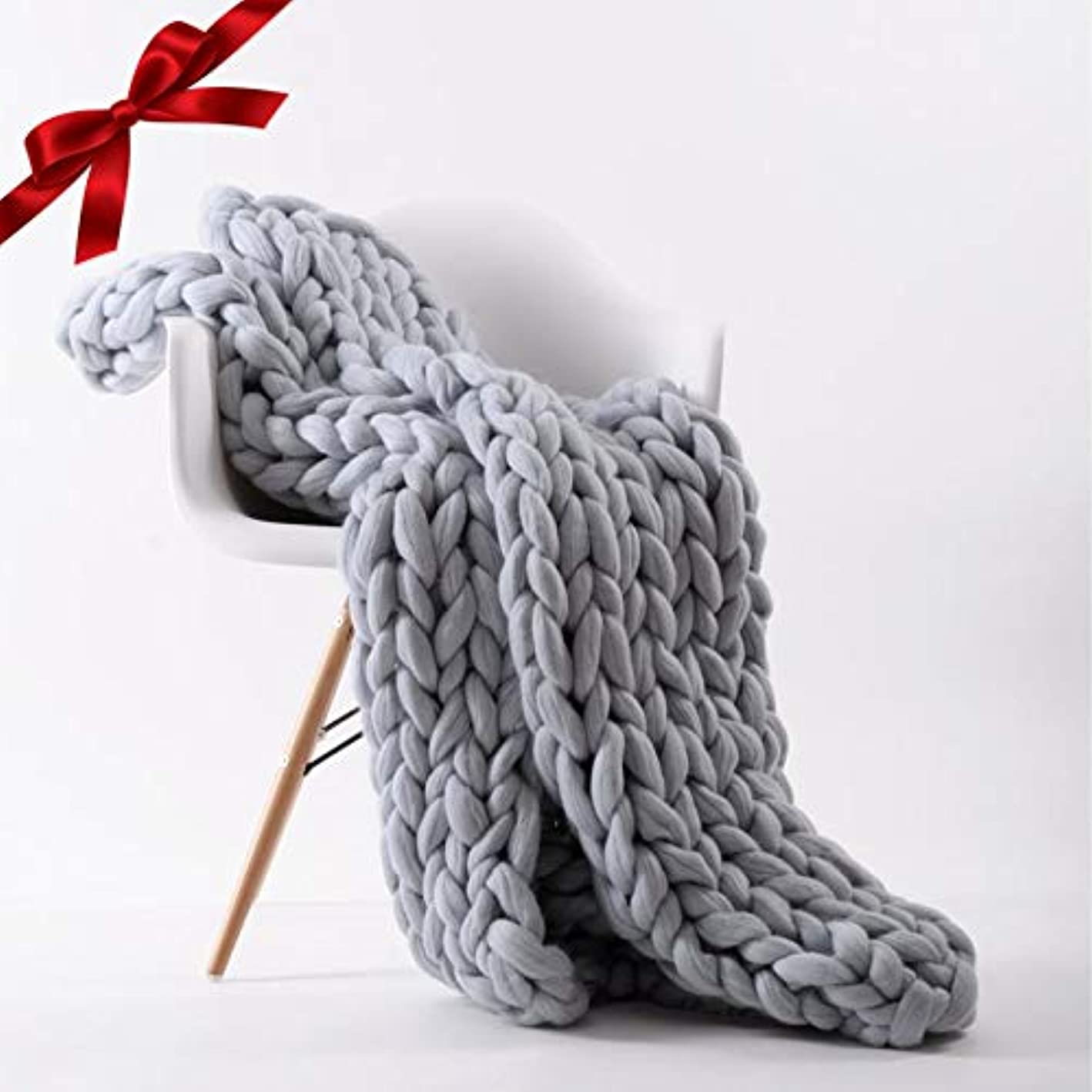 Chunky Knit Blanket Throw | Hand Made Knitted with Heavy Thick Vegan Yarn | FREE Storage Bag | Accent Home Decor Gift for Farmhouse Couch Bench Bed ?? (Standard Throw 50