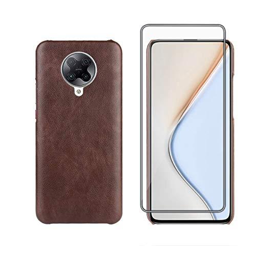 TANKLE Hülle Compatible für Xiaomi Poco F2 Pro Hülle Leder Premium PU Hülle Ultra Dünn Echtleder Cover Ledertasche (Color : Brown, Size : Poco F2 Pro)