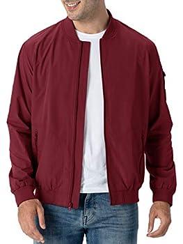 Rdruko Men s Running Jacket Lightweight Flight Varsity Bomber Sports Jacket Coat Wine Red US XXL