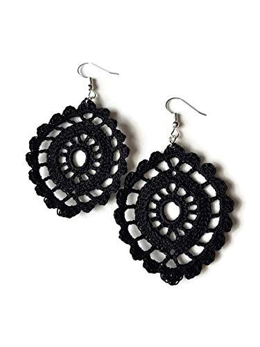 Pendientes de encaje negro regalo de joyería de encaje para su crochet hecho a mano óvalo sicilia