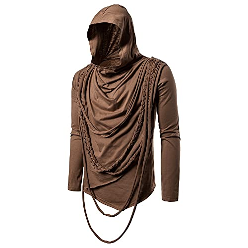 ZYUD Men's Sports Stretch Hooded Sweatshirt Comfortable Hoody Slim Fit Fitness Hoody Gym Hoodie Long Sleeve Basic Hoodie Gym Sports Long Sleeve Shirts Sweatshirt Sport Outwear Hoody Casual Tops Brown