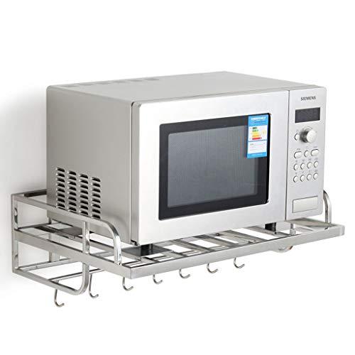 Regal Für Mikrowelle/Mikrowelle Backofen Wandhalterungen Edelstahl Regal Mikrowellenhalterung Multifunktionshaken 304 Edelstahl Mikrowelle Rack(Größe:550 * 385 * 160Mm)