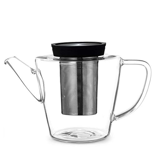 Teekanne Glas mit Edelstahl Sieb und Deckel, 3 teilig, Zubereitung von losen Tee, mit Henkel, tropffrei, Deckel schwarz
