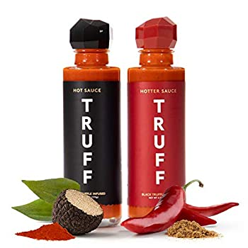 TRUFF Hot Sauce and Hotter Sauce 2-Pack Bundle Gourmet Hot Sauce Set Black Truffle and Chili Peppers Gift Idea for the Hot Sauce Fans An Ultra Unique Flavor Experience  Black/Red 6 oz 2 count