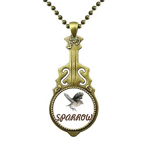 Vögel Vögel Tiere Nahrung Fliege Halskette Antiker Gitarrenschmuck Musikanhänger