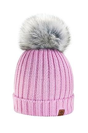 Para Mujer Invierno Más Cálido Sombrero Gorra with Large Pom Pom de la Bola Gorra tejida Gorra Grande Snowboard Ski Bobble Circle Little Crystals 4sold (Pink)