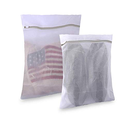 2 PACK Heavy Duty Mesh Laundry Bags for Delicates with Zipper, Lingerie Laundry Bag, Travel Storage Organize Bag, Garment in-Wash Cleaning Bag for Baby Clothes, Blouse, Hosiery, Stocking, Shoes, Bra