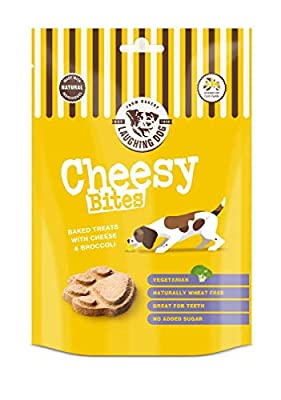 Laughing Dog - Cheesy Bites - Baked Dog Treats with Cheese & Broccoli - Wheat and Sugar-Free, Perfect as Training Aid or Reward - 125g