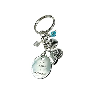 Art Attack Mermaid Seashell Magic Keychain, Water Ocean Blue Bead Pendant