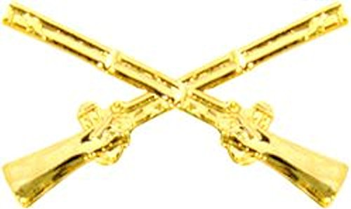 HMC Mfg. Infantry Crossed Rifles Gold Small Hat Pin, Full Color