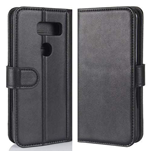 HualuBro LG V30 Hülle, Echt Leder Leather Wallet HandyHülle Tasche Schutzhülle Flip Hülle Cover mit Karten Slot für LG V30 / LG V30 Plus/LG V30S ThinQ Smartphone (Schwarz)