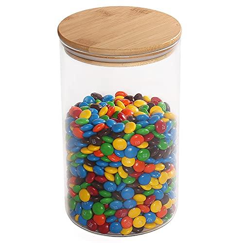 77L Bocal verre Pots en verre, récipient boite verre avec couvercle en bois et joint en silicone pour servir le chocolat, le café, l'épice et plus, 1850 ML(62.5 FL OZ)