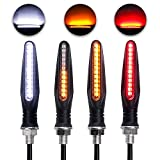 LivTee Super Bright 4PCS Motorcycle Indicators Flowing Turn Signal Brake Lights & Daytime Running Lights 12V for Motorbike Scooter Quad Cruiser Harley Kawasaki Yamaha Suzuki Off Road, White/Red/Amber