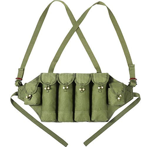 PanbooX Reproduction Chinese Type 81 AK 47 Chest Rig Magazine Pouch Carrier Ammo Bag Bandolier 6 Pockets