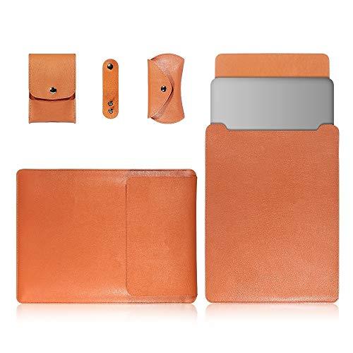JIANWU Couverture, 4 en 1 Ordinateur Portable PU Sac en Cuir + Power Sac + Lanières + Sac Souris for MacBook 13 Pouces (Color : Light Brown)